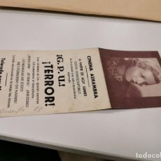 Cine: PROGRAMA DE MANO ORIG DOBLE - TERROR - CINE DE ZARAGOZA. Lote 167797892