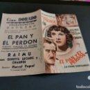 Cine: PROGRAMA DE MANO ORIG DOBLE - EL PAN Y EL PERDÓN - CINE DE ZARAGOZA . Lote 167851940