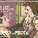 Cine: PROGRAMA DE CINE - UN CORAZÓN EN PELIGRO - CARY GRANT - RKO RADIO FILMS - SIN PUBLICIDAD.. Lote 167919041