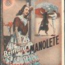 Cine: PROGRAMA DOBLE - BRINDIS A MANOLETE - PAQUITA RICO, MONOLO MORÁN - TEATRO CERVANTES (MÁLAGA) - 1948.. Lote 168017888