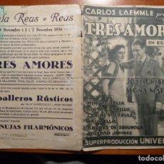Cine: TRES AMORES FOLLETO DE MANO ORIGINAL ESTRENO CON CINE IMPRESO. Lote 168072068