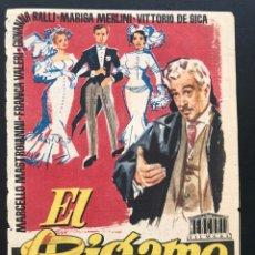Cine: PROGRAMA EL BIGAMO.VITTORIO DE SICA MARCELLO MASTROIANNI.JANO.CON PUBLICIDAD. Lote 168083745