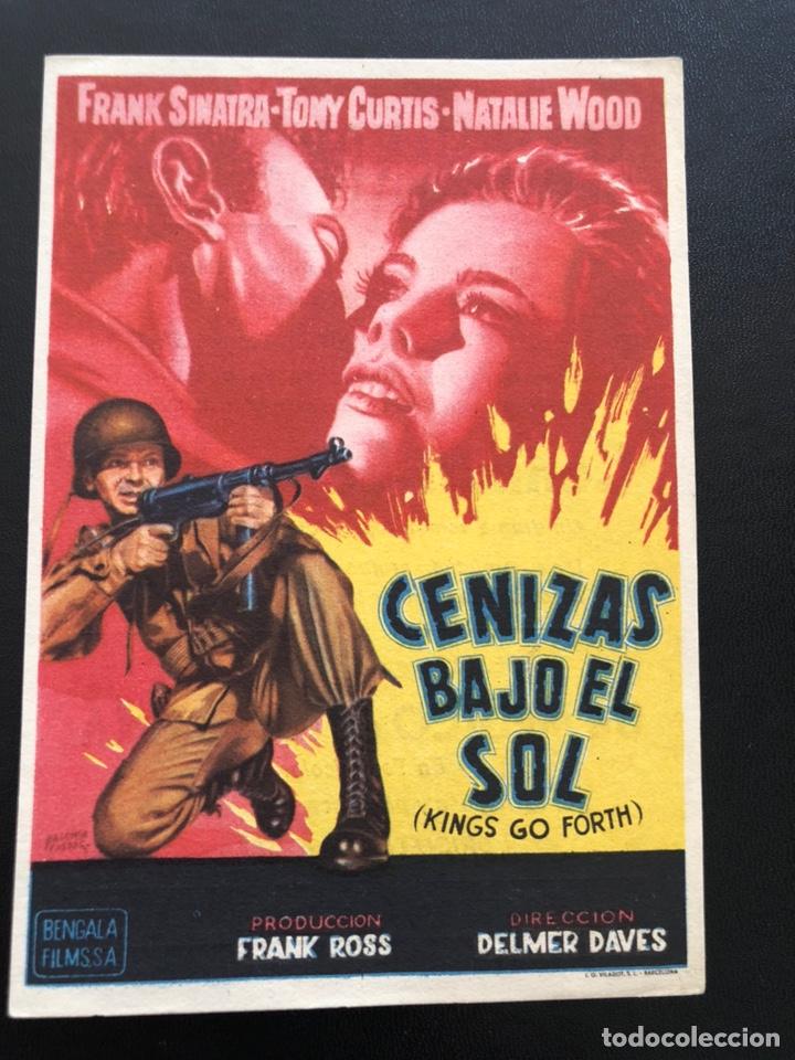 PROGRAMA CENIZAS BAJO EL SOL.FRANK SINATRA TONY CURTIS NATALIE WOOD.CON PUBLICIDAD (Cine - Folletos de Mano - Bélicas)