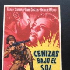 Cine: PROGRAMA CENIZAS BAJO EL SOL.FRANK SINATRA TONY CURTIS NATALIE WOOD.CON PUBLICIDAD. Lote 168084492