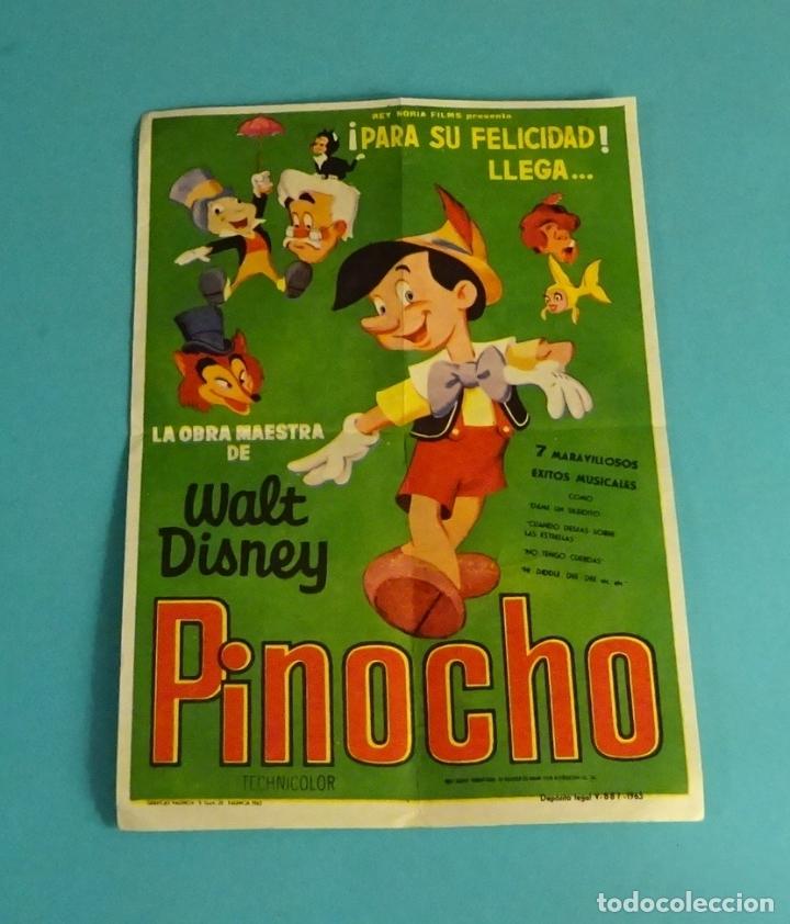 PINOCHO. WALT DISNEY. CON PUBLICIDAD EN REVERSO CINE MONTESOL. MONTEOLIVETE. VALENCIA (Cine - Folletos de Mano - Infantil)