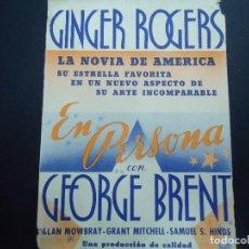 Cine: EN PERSONA 1939 GINGER ROGERS Y GEORGE BRENT RADIO FILMS . Lote 168170968