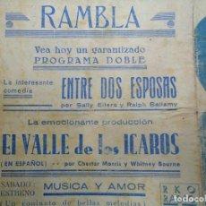 Cine: EL VALLE DE LOS ÍCAROS 1940 CON CHESTER MORRIS PUBLICIDAD CINE RAMBLA RKO RADIO FILMS DOBLE . Lote 168172156