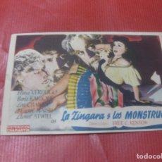 Flyers Publicitaires de films Anciens: PROGRAMA DE CINE. LA ZINGARA Y LOS MONSTRUOS. ELENA VERDUGO. BORIS KARLOFF. Lote 168275336