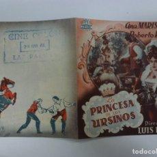 Cine: PROGRAMA DE CINE. DOBLE. LA PRINCESA DE LOS URSINOS. CON PUBLICIDAD. . Lote 168456644