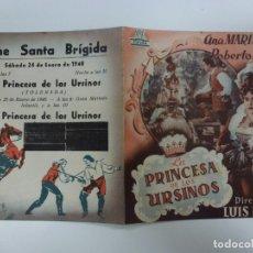 Cine: PROGRAMA DE CINE. DOBLE. LA PRINCESA DE LOS URSINOS. CON PUBLICIDAD. . Lote 168456680