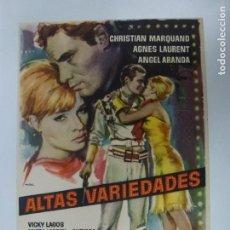 Cine: PROGRAMA DE CINE. ALTAS VARIEDADES. SIN PUBLICIDAD.. Lote 168457300