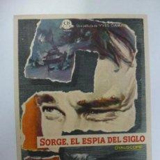 Cine: PROGRAMA DE CINE. SORGE, EL ESPÍA DEL SIGLO. SIN PUBLICIDAD. . Lote 168457484