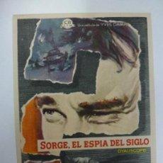 Cine: PROGRAMA DE CINE. SORGE, EL ESPÍA DEL SIGLO. SIN PUBLICIDAD. . Lote 168457508