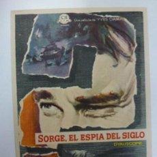 Cine: PROGRAMA DE CINE. SORGE, EL ESPÍA DEL SIGLO. SIN PUBLICIDAD. . Lote 168457552