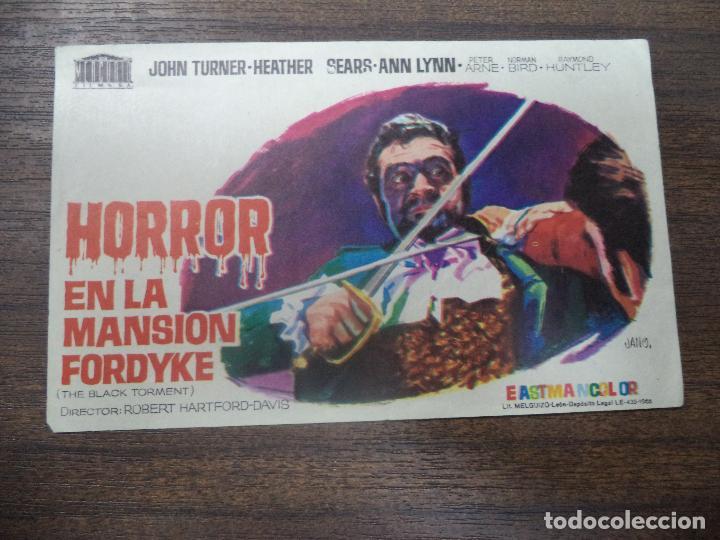 PROGRAMA DE CINE S/P. HORROR EN LA MANSION FORDYKE. (Cine - Folletos de Mano - Terror)