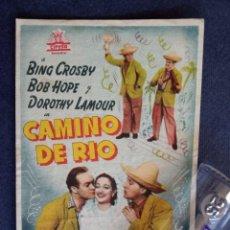 Cine: FOLLETO DE MANO ORIGINAL - CAMINO DEL RIO - CINEMA IDEAL ONDA - CASTELLON . Lote 168578380