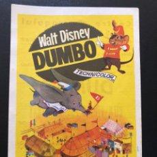 Cine: PROGRAMA WALT DISNEY DUMBO.CON PUBLICIDAD. Lote 168585746