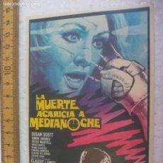 Cine: LA MUERTE ACARICIA A MEDIANOCHE. FOLLETO DE MANO, PROGRAMA DE CINE.. Lote 168639860