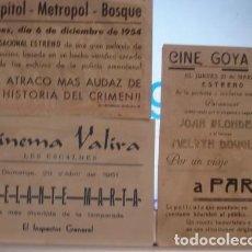 Cine: CINE GOYA - CINEMA VALIRA - CINE CAPITOL, METROPOL, BOSQUE - LOTE DE 3 PROGRAMAS DE MANO. Lote 168719100