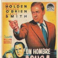 Cine: PROGRAMA DE CINE - UN HOMBRE ACUSA - WILLIAM HOLDEN, EDMOND O'BRIEN - TEATRO BOSQUE - 1954. Lote 168749032