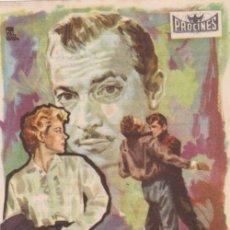 Cine: PROGRAMA DE CINE - EL CULPABLE ACUSA - ZACHARY SCOTT - CINEMA VICTORIA - 1957. Lote 168750848