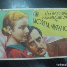 Cine: PROGRAMA DE CINE. MORTAL SUGESTION. ANN HARDING. BASIL RATHBONE.. Lote 168807156