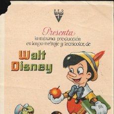 Cine: PROGRAMA DE CINE - PINOCHO - WALT DISNEY - RKO RADIO FILMS - CINE AVENIDA (MÁLAGA) - 1940.. Lote 168894892