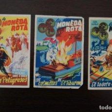 Cine: LA MONEDA ROTA. (1946) 3 EP. HOMBRES PELIGROSOS, LOS COLMILLOS DE EL TIBURÓN, EL TESORO FANTASMA. Lote 168895676