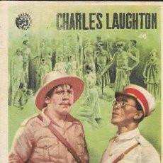Cine: PROGRAMA DE CINE - BANDERA AMARILLA - CHARLES LAUGHTON, ELSA LANCHESTER - GRAN TEATRO NACIONAL 1938. Lote 168896372