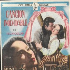 Cine: PROGRAMA DE CINE - CANCIÓN INOLVIDABLE - MERLE OBERON, PAUL MUNI - COLUMBIA - CINE ALBÉNIZ (MÁLAGA) . Lote 168916996