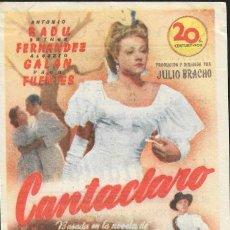 Cine: PROGRAMA DE CINE - CANTACLARO - ANTONIO BADU, ESTHER FERNÁNDEZ - 20TH CENTURY FOX - CINE GOYA - 1946. Lote 168990708