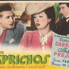 Cine: PROGRAMA DE CINE - CAPRICHOS - DANIELLE DARRIEUX, ALBERT PREJEAN - MONUMENTAL CINEMA (MELILLA) 1950. Lote 168998828