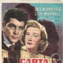 Cine: PROGRAMA DE CINE - CARTA DELATORA - DALE ROBERTSON, LOIS MAXWELL - TERRAZA Y CINE DUQUE (MÁLAGA). Lote 169065856