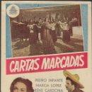 Cine: PROGRAMA DE CINE - CARTAS MARCADAS - PEDRO INFANTE, MARGA LÓPEZ - CIFESA - CINE GOYA - 1948.. Lote 169066104