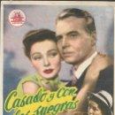 Cine: PROGRAMA DE CINE - CASADO Y CON DOS SUEGRAS - GENE TIERNEY, JOHN LUND - CIFESA - CINE GOYA - 1951.. Lote 169067680