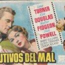 Cine: PROGRAMA DE CINE - CAUTIVOS DEL MAL - LANA TURNER, KIRK DOUGLAS - CINE ECHEGARAY (MÁLAGA) - 1952.. Lote 169070884