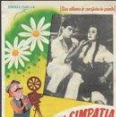 Cine: PROGRAMA DE CINE - CIEN, AMOR Y SIMPATÍA - LEA PADOVANI, WALTER CHIARI- TEATRO CERVANTES (MÁLAGA) . Lote 169073768