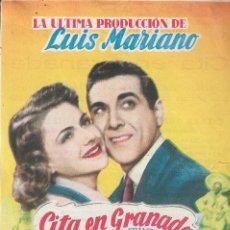 Cine: PROGRAMA DE CINE - CITA EN GRANADA - LUIS MARIANO, NICOLE MAUREY - CINE ALKAZAR (MÁLAGA) - 1951.. Lote 169075480