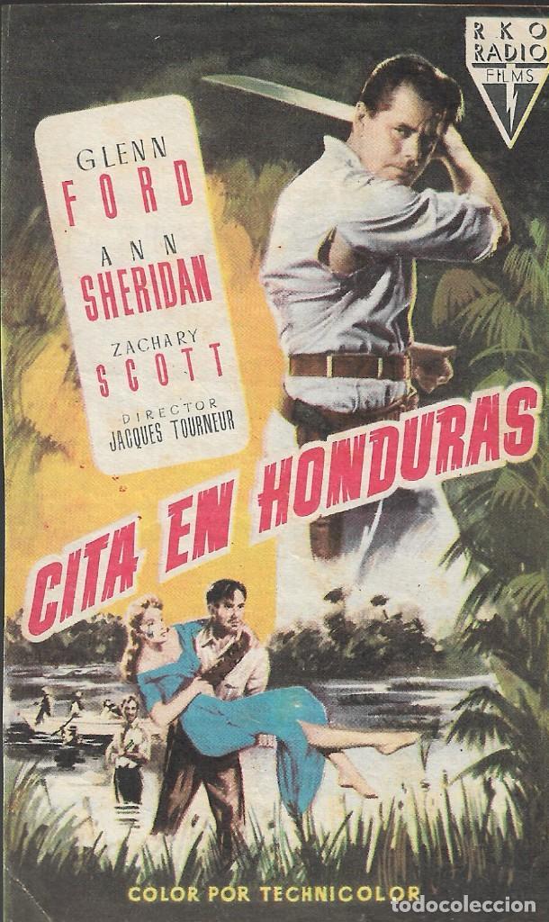 PROGRAMA DE CINE - CITA EN HONDURAS - GLENN FORD, ANN SHERIDAN - RKO RADIO FILMS - CINE ECHEGARAY (Cine - Folletos de Mano - Aventura)