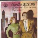Cine: PROGRAMA DE CINE - CIUDAD EN SOMBRAS - CHARLTON HESTON, LISBETH SCOTT - CINE ECHEGARAY (MÁLAGA) 1950. Lote 169078160