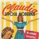 Cine: PROGRAMA DE CINE - CLAUDIA ESPOSA MODERNA - DOROTHY MCGUIRE - 20TH CENTURY FOX - 1943.. Lote 169078744