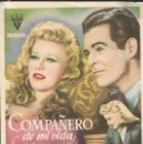 Cine: PROGRAMA DE CINE - COMPAÑERO DE MI VIDA - GINGER ROGERS, ROBERT RYAN - RKO RADIO - CINE ALKAZAR. Lote 169263884