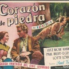 Cine: PROGRAMA DE CINE - CORAZÓN DE PIEDRA - LUTZ MOIK, HANNA RUCKER - CIFESA - CINE GOYA - 1950.. Lote 169287780