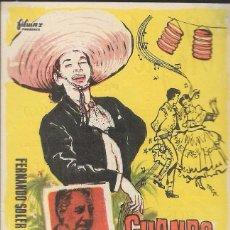Cine: PROGRAMA DE CINE - CUANDO MÉJICO CANTA - ROSITA QUINTANA, FERNANDO SOLER - CINE ROYAL (MÁLAGA) 1958. Lote 169322264