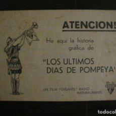 Cine: LOS ULTIMOS DIAS DE POMPEYA-PROGRAMA DE CINE LIBRITO-RADIO FILMS-VER FOTOS-(C-4300). Lote 169333728