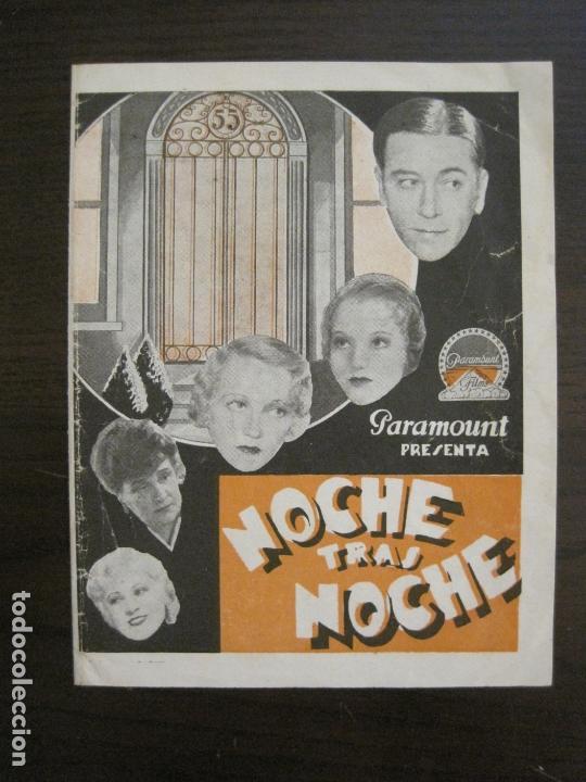 NOCHE TRAS NOCHE-PROGRAMA DE CINE DOBLE-VER FOTOS-(C-4315) (Cine - Folletos de Mano - Aventura)