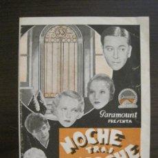 Cine: NOCHE TRAS NOCHE-PROGRAMA DE CINE DOBLE-VER FOTOS-(C-4315). Lote 169337188