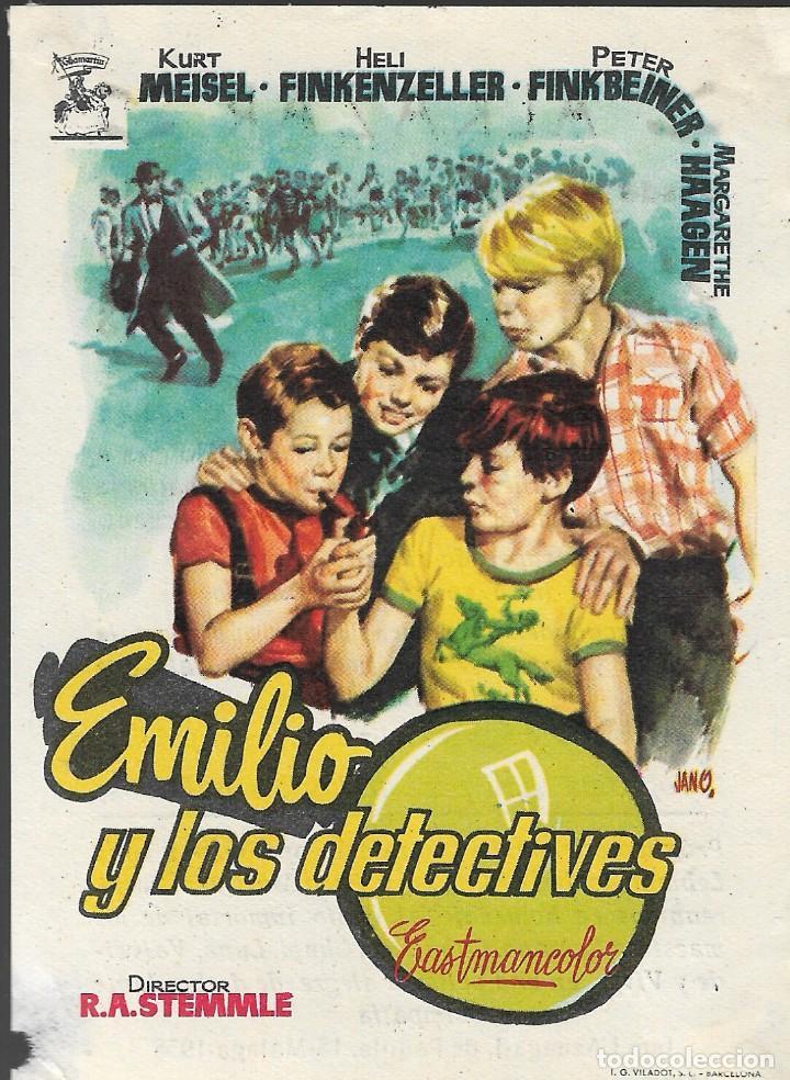 PROGRAMA DE CINE - EMILIO Y LOS DETECTIVES - KURT MEISEL, HELI FINKENZELLER - CINE ALKAZAR (MÁLAGA) (Cine - Folletos de Mano - Infantil)