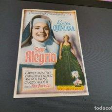 Cine: PROGRAMA DE MANO ORIG - SOR ALEGRIA - SIN CINE . Lote 169450832