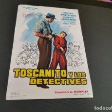 Cine: PROGRAMA DE MANO ORIG - TOSCANITO Y LOS DETECTIVES - SIN CINE . Lote 169451552